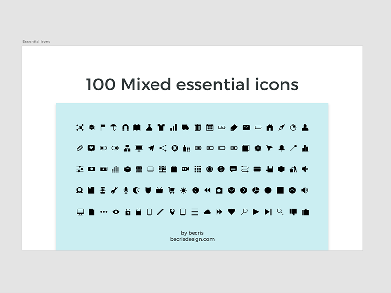 Free 100 Mixed essential icons for Adobe Xd adobe freebie free mixed essential xd material icons download