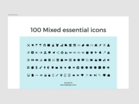 Free 100 Mixed essential icons for Adobe Xd