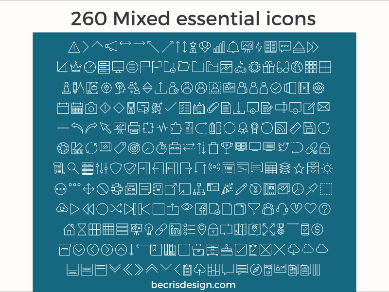 Free 260 Mixed Essential Icons for Adobe Xd iconjar web material illustrator adobe xd freebie free ux ui icon essential