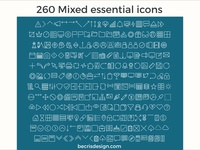 Free 260 Mixed Essential Icons for Adobe Xd