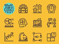 Business consultant concept icons