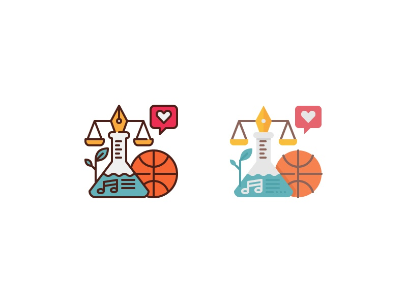 Education iconustrations science flat line subject conceptual illustration icon iconustration education