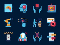 Artificial intelligence flat style icons