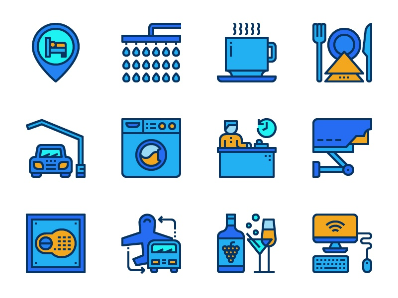 Hotel facilities icons outline icon design reception parking bar airport hostel motel icon line facilities hotel