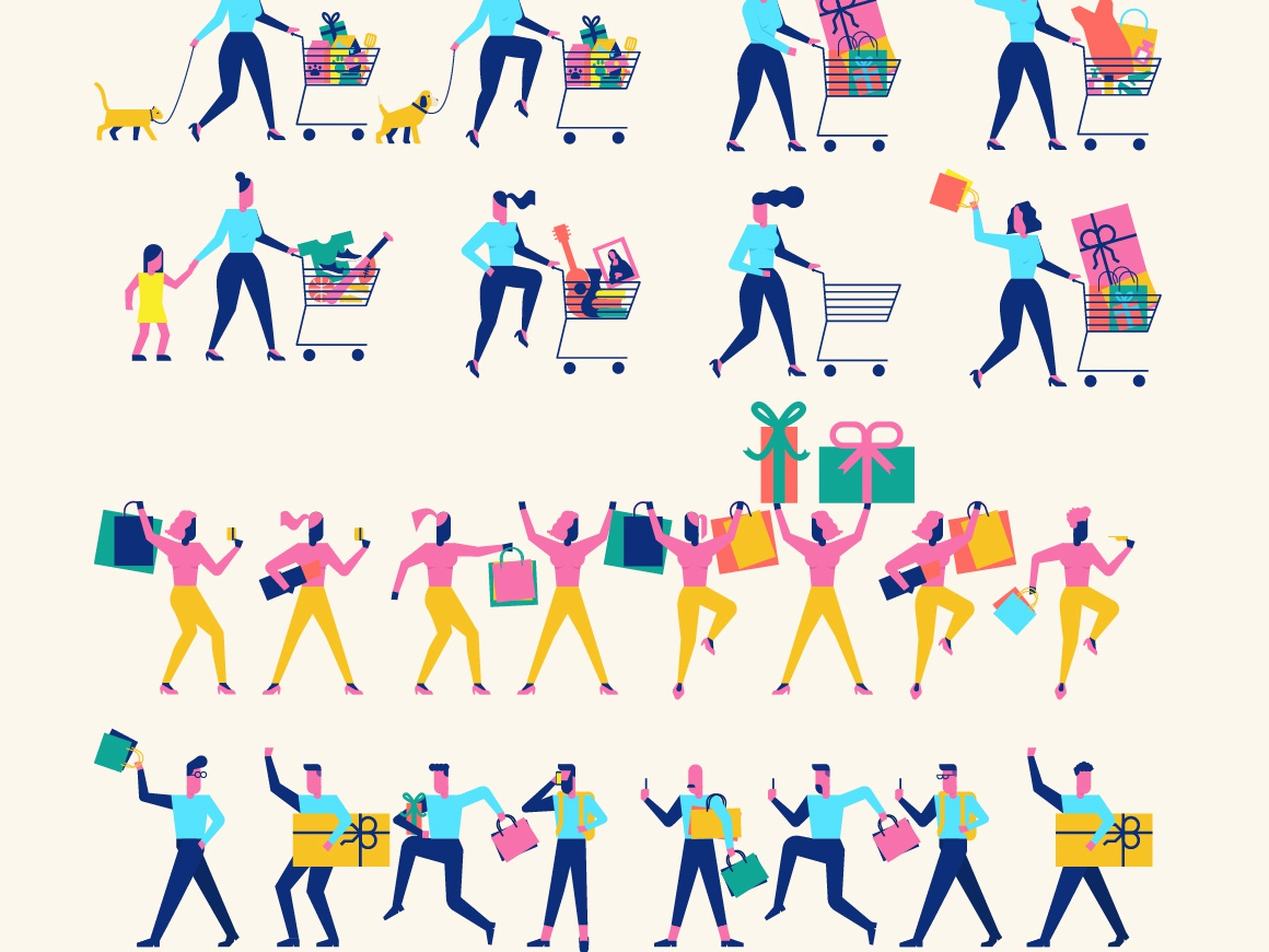Woohoo Character Creator modern graphic cheerful joy fun shopping design flat illustration creator character woohoo