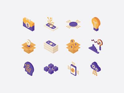 Fintech isometric icons cloud api startup analytics innovation money technology financial isometric icons icon isometric fintech