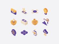 Fintech isometric icons