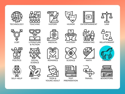 Literary Genres Icons concept vector icon design web bookstore categories book outline line icon genres literary
