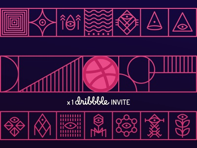 Dribbble Invite geometic tribal illustration abstract line draftee invite giveaway giveaway invite invitation dirbbble invitation dribbble invite