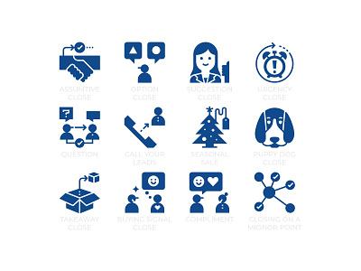 Sale Closing Techniques saleman customers business symbol solid glyph avatar marketing seo concept icons techniques closing sale