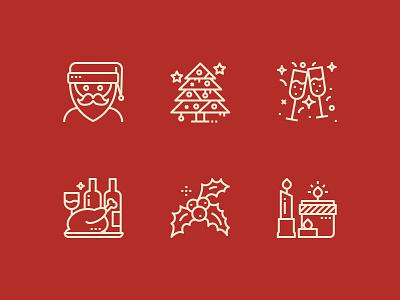 Christmas is coming season mistletoe christmas candles celebration christmas tree santaclaus line icon chrismas