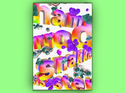 hammmrrrodsnakkeesissster fluid grey poster logo typography texture rgb rainbow poster design photoshop illustration glob design color cinema 4d cgi c4d blob adobe 3d