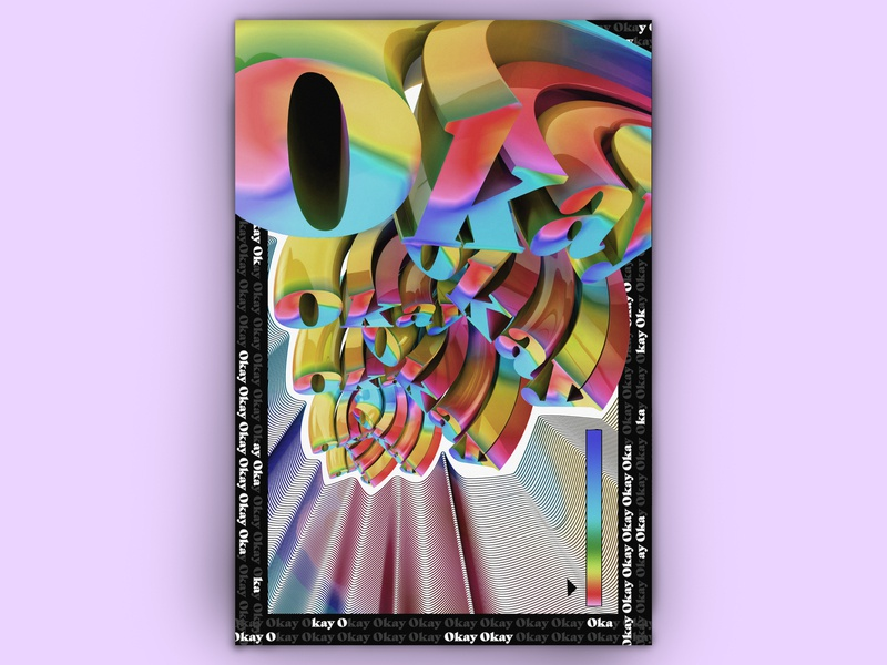 Okay banana logo grey photoshop blob fluid glob poster c4d rainbow rgb typography poster design illustration design color cinema 4d cgi adobe 3d