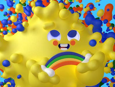 Colorful boy fluid photoshop adobe illustration design cinema 4d cgi c4d 3d color clouds rainbow