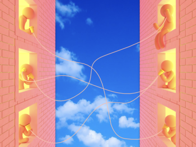 Telephone pink string brick telephone cup clouds sky illustration design cinema 4d cgi c4d 3d