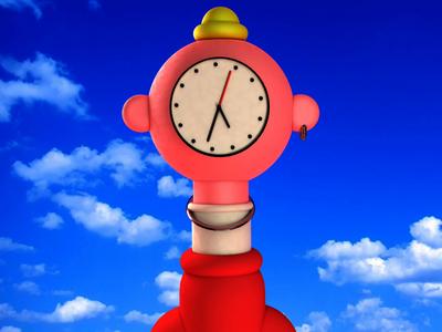 Clockhead 3D animation cartoon cartoons illustration motion design gif motion time clock sky character design cinema 4d stereoscopic cgi c4d 3d