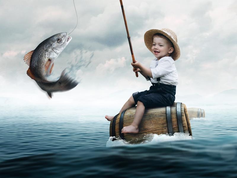 Baby Fishing fishing baby photoshop digital imaging manipulation