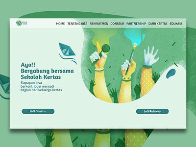 Volunteering Website Page (Sekolah Kertas) people volunteer creativity hand handillustration green landingpage website