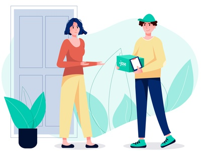 delivery📦 illustration for web human delivery flat 2d vector illustration