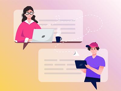 messaging💬 messaging human flat 2d vector illustration