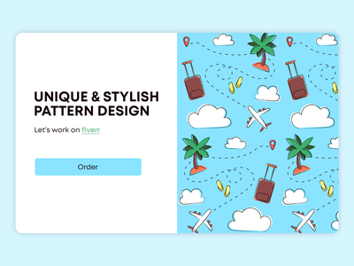 Pattern design travel vacation simple objects pattern design pattern order flat 2d vector illustration