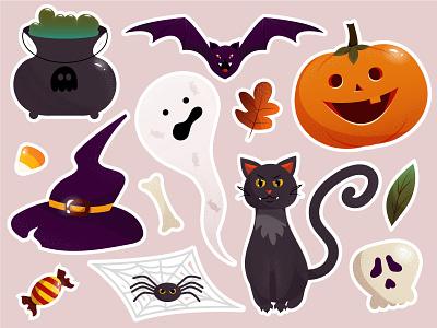 Halloween🎃 halloween monsters halloween stickers halloween flat 2d vector illustration