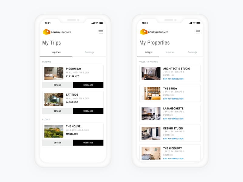 My Trips + My Properties Pages backend design product design web design travel black white layout simple minimal user interface design user interface ux design ui design ui user dashboard booking vacation home rental vacation home vacation rental