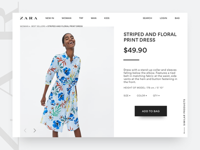 Zara Design Concept web design visual design product details page design concept ecommerce fashion