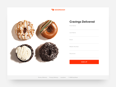 DoorDash Sign-Up Form clean design minimal design ui design ux design design concept create account sign up form doordash