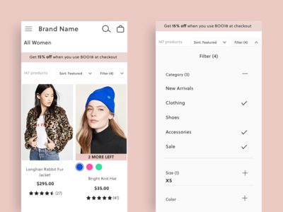 Product Category Page filter feature fashion product category page shopping grid filter web design ux design ui design category page product design ecommerce