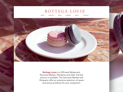 Bottega Louie Homepage Redesign Concept bottega louie restaurant homepage design user interface design cafe design restaurant design redesign concept homepage design landing page uxui design web design