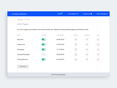 Dashboard CMS Page Editor