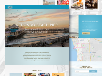 Redondo Beach Pier Homepage Design Concept redondo beach redondo beach pier design concept web design ux ui design user interface design ui design landing page design homepage design