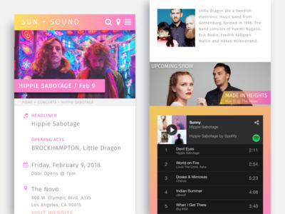 Music Web Design event app event promoter mobile responsive entertainment concert app gradient background festival app ui design web design music web design music website music