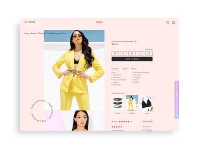 Fashion Ecommerce Product Detail Page ecommerce app desktop gradient exploration design concept fashion brand shein cool landing page pink layout modern ux design web design visual design ui design product design ecommerce design ecommerce fashion