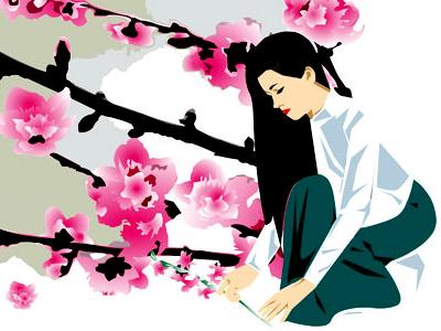 Cherry Blossom Illustration asian illustration
