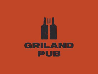 Grill and pub spatula mark barbeque bottle wine restaurant food craft drink pub grill bar beer vintage design illustration logomark logotype minimal logo