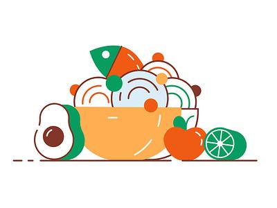 Healthy food lime food and drink pescetarian vegetable japanese thai asian diet keto mediterranean fish sport apple bowl avocado food character vector design illustration