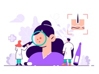 Dermatologist concept skin care infection medicine pigment diagnostic cosmetology research scientist laboratory allergic dermatology skin doctor people flat character vector design illustration