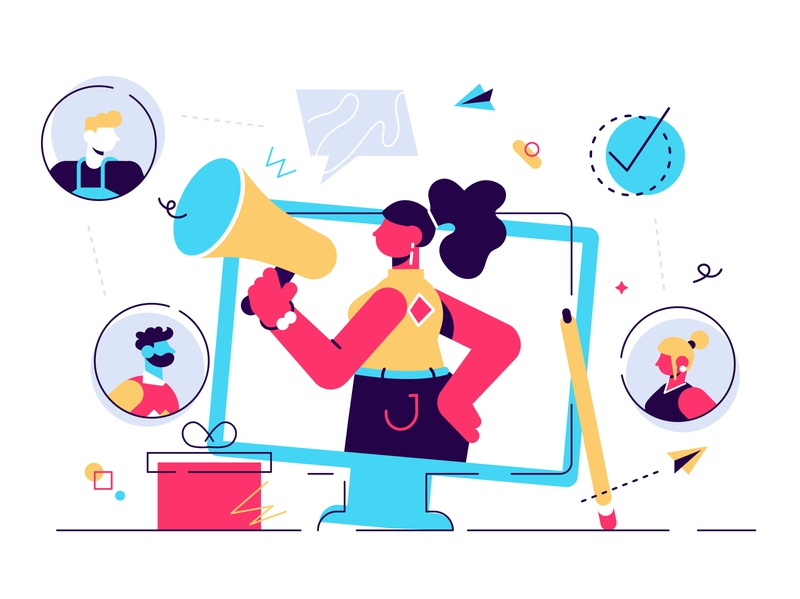 Marketing consumer audience communication service for influencer avatar loudspeaker offer message advertising service influencer referral marketing audience team business office people business people flat character vector design illustration