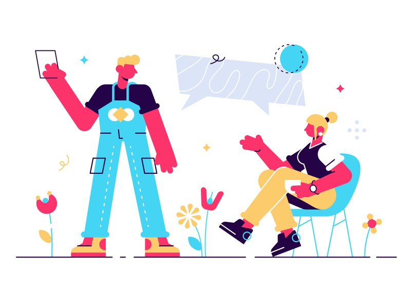 Concept of business meeting employee chatting speach bubble coworking space teamwork phone communication discussion team business office people business people flat character vector design illustration