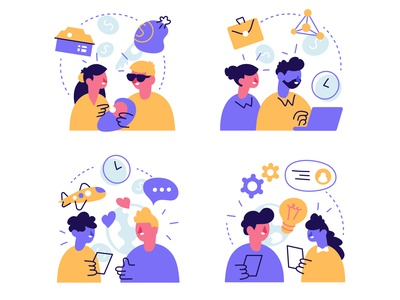 Generations concept art line family gen z z gen y x millennial generation y generation z baby boomers generation business people flat character vector design illustration