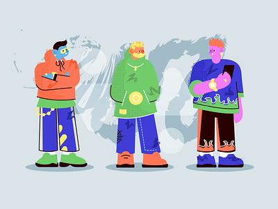 Millennials hoodie sneakers fire male men man boy texture streetwear modern trendy design millennial millennials team people flat character vector design illustration