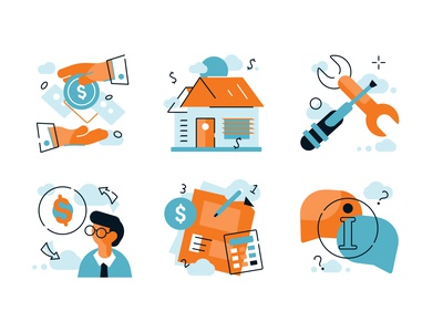 Financial and mortage broker icons set speech bubble tools broker mortage house hand editable documents finance icons icon ux application ui business logo flat vector design illustration