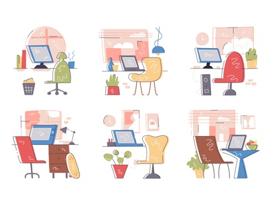Collection of working places cabinet desktop room cartoon home laptop freelance plant interior place work desk workdesk workplace workspace office flat vector design illustration