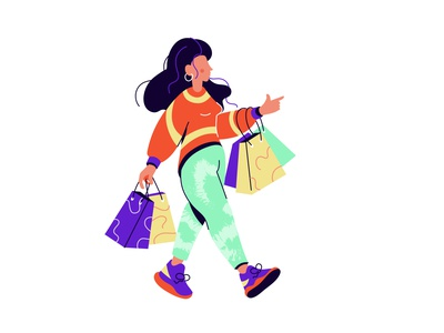 Woman goes shopping simferopol crimea caucasian clothes goods bags sneakers art texture mom shopping shop female woman people character flat vector illustration design