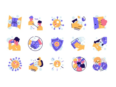 Covid-19 prevention and safety icons shield sanitizer washing hands distance hygiene safety prevention medicine virus corona coronavirus covid-19 people icons line outline flat vector illustration design