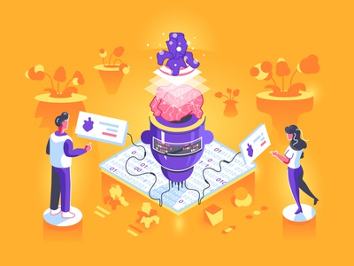 Artificial intelligence training to recognize in isometric style code abstract isometric illustration isometry flowers plants training robotics robot data big data artificial intelligence ai business people character flat vector illustration design