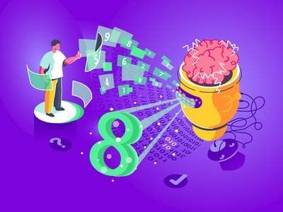 Artificial intelligence AI training to recognize in isometry flow brain male recognize application app 8 numbers recognition robot artificial intelligence ai isometric isometry man character flat vector illustration design