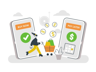 Buy now pay later concept concept buyer cash money phone ecommerce shopping buying buy now pay later team office business business people people character flat vector illustration design